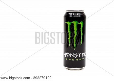 London, United Kingdom, 14th October 2020:- A Can Of Original Monster Energy Drink Isolated On A Whi