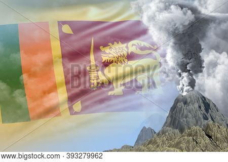 Stratovolcano Blast Eruption At Day Time With White Smoke On Sri Lanka Flag Background, Suffer From