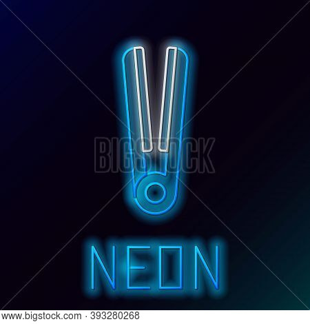 Glowing Neon Line Curling Iron For Hair Icon Isolated On Black Background. Hair Straightener Icon. C