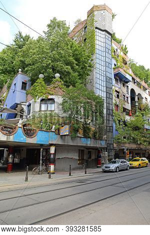 Vienna, Austria - July 12, 2015: Famous House Residential Building By Architect Hundertwasser In Wie