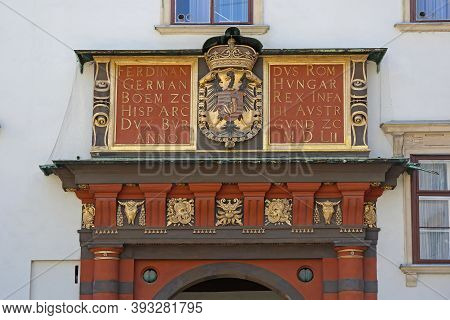 Vienna, Austria - July 11, 2015: Coat Of Arms At Hofburg Imperial Palace Entrance In Wien, Austria.