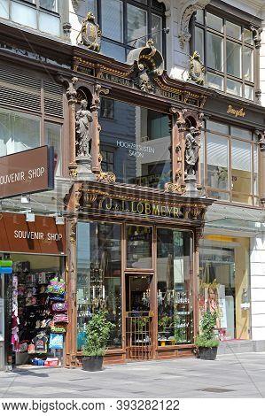 Vienna, Austria - July 12, 2015: Historic Lobmeyr Glassware Main Shop At Karntner Street In Wien, Au