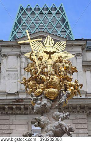 Vienna, Austria - July 12, 2015: Column Of Pest Plague Monument Landmark At Graben Street In Wien, A