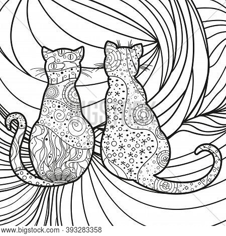 Square Background. Hand Drawn Ornate Cats. Design For Spiritual Relaxation For Adults. Black And Whi