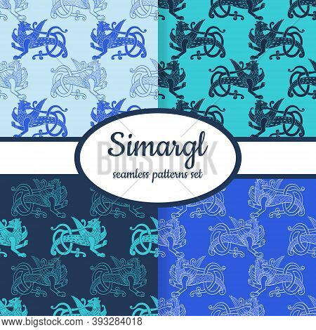 Collection Of Seamless Patterns With Ancient Slavic Symbol Simargl Or Chernihiv Beast Designed For W