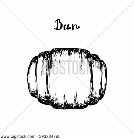 Bun Hand Drawn Hatching In Vector, Doodle Style. Homemade Baked Goods, Bun For Tea Illustration For