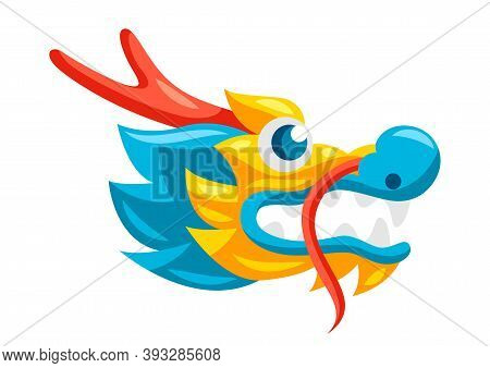 Illustration Of Chinese Dragon Head. Mascot Or Tattoo. Traditional China Symbol. Asian Mythological
