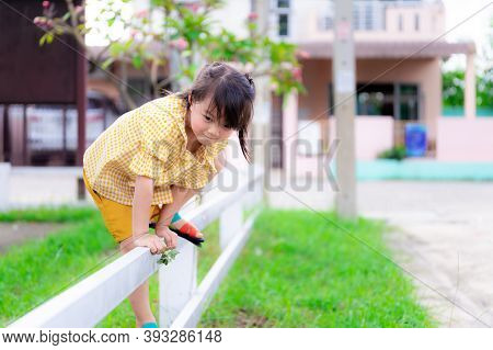 Active Cute Girl Climbing White Fence. In Hand She Holding Flowers From The Grass. Asian Children We