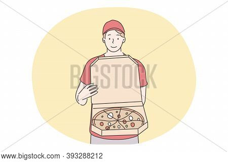 Pizza, Home Food Delivery Concept. Young Smiling Man Boy Courier Supplier Cartoon Character Standing
