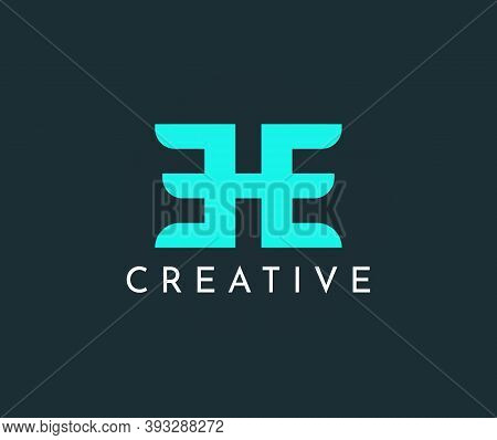 Letter E And H, Ee Vector Logo Design.creative Blue Icon Template Illustration