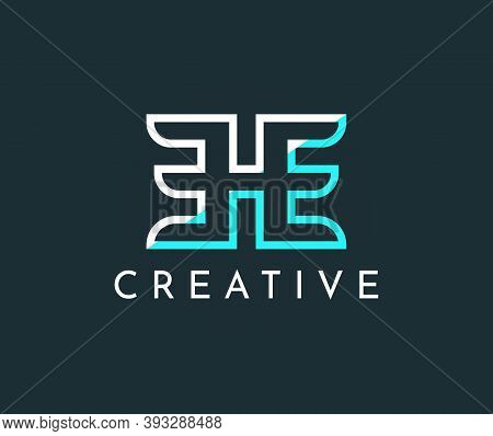 Letter H And E In Blue And White Stroke Vector Logo Design Template.creative Blue Icon Illustration