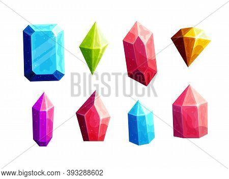 Sparkling Multicolor Crystals Cartoon Vector Illustrations Set. Blue, Green, Pink Precious Stones Of