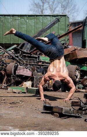 Handstand Push-up Man Workout At Industrial Junkyard