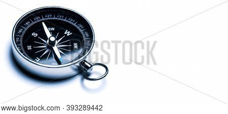 Classic Compass, Navigational Compass Isolated On White Background.