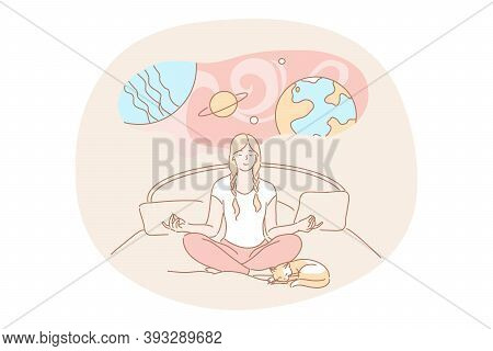 Yoga, Meditation, Imagination Concept. Calm Woman Cartoon Character Meditating Dreaming Doing Yoga E