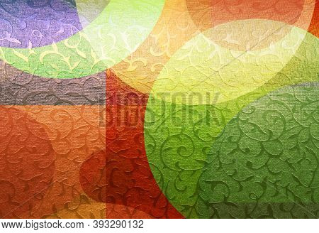 Colorful Golden Floral Ornament Brocade Textile With Geometric Patterns