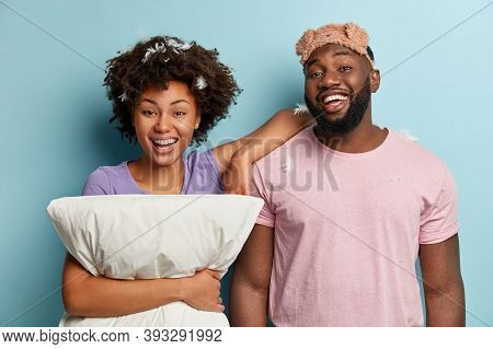 Couple In Love Have Fun, Smile Gladly After Healthy Sleep, Wear Sleepmask, Casual Clothes, Have Feat
