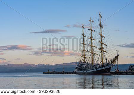 Ushuaia, Argentina-february 13, 2020: Russian Tall Ship Pallada In The Port Of Ushuaia, Argentina