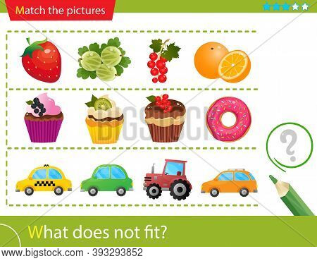 Logic Puzzle For Kids. What Does Not Fit? Berries. Cupcakes. Automobile Cars. Matching Game, Educati