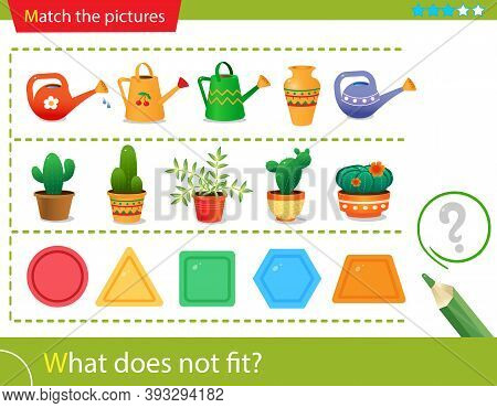 Logic Puzzle For Kids. What Does Not Fit? Flower Watering Cans. Cactuses. Geometric Shapes: Polygons