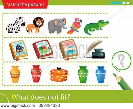 Logic Puzzle For Kids. What Does Not Fit? Animals. Books. Pitchers. Matching Game, Education Game Fo