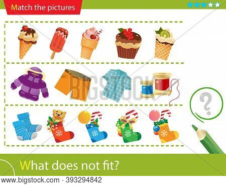 Logic Puzzle For Kids. What Does Not Fit? Ice Cream. Clothing. Christmas Boots With Gifts. Matching