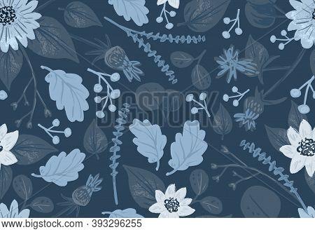 Winter Seamless Pattern On Dark Blue Background, In Cute Cartoon Hand-drawn Style