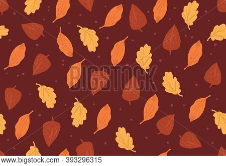 Simple Autumn Pattern In Orange Colors On Red Background. Doodle Cartoon Style.