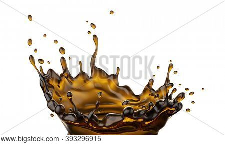 Coffee fluid splash crown flow with bubbles and drops isolated on white background. Clipping path included. Melted hot coffee or tea drink for food packaging design. 3d illustration.