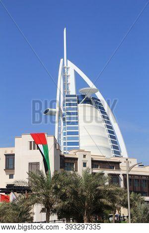 Dubai, Uae - November 23, 2017: Burj Al Arab Skyscraper In Dubai. The Sail Shaped Modern Hotel Is Ma