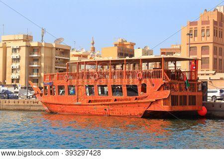 Dubai, Uae - December 9, 2017: Dhow Wooden Ship Moored At Dubai Creek In Uae. Dubai Is The Most Popu