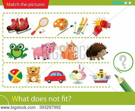 Logic Puzzle For Kids. What Does Not Fit? Sports And Sports Equipment. Wild Animals. Toys. Matching