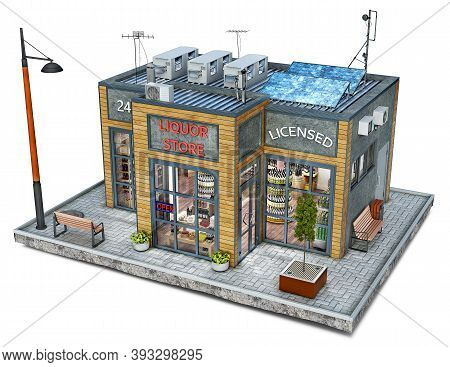 Modern Liquor Store Building On A Piece Of Ground, 3d Illustration