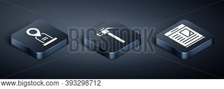 Set Isometric Location Grave, Obituaries And Hammer Icon. Vector