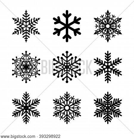 Vector Snowflakes Set. Holiday Illustration. Snow New Years Ornate. Christmas Element Snowflake Silh