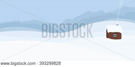 Snowy Hills With Single Wooden House, Panoramic Landscape - Symbol For Solitude, Seclusion, Loneline