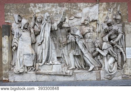 Moscow, Russia - 20 October 2020, Donskoy Monastery. Bas-reliefs Depicting Biblical Scenes Rescued F