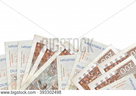 200 Croatian Kuna Bills Lies On Bottom Side Of Screen Isolated On White Background With Copy Space.