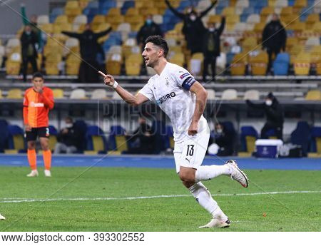 Kyiv, Ukraine - November 3, 2020: Lars Stindl Of Monchengladbach Celebrates After Scored A Goal Duri