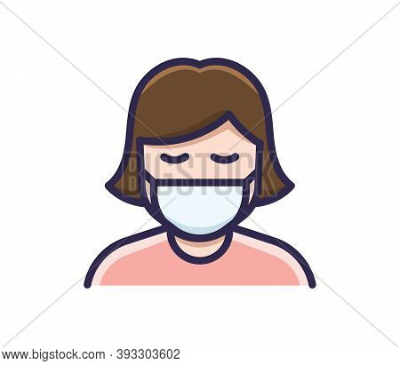 Person In Medical Face Protection Mask. Vector Icon Of A Depressed And Tired Woman Wearing A Protect