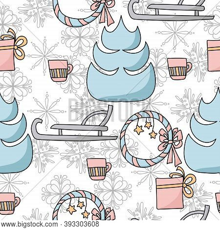 Seamless Winter Pattern Of A Cozy Decorative Wreath, Sledges, A Gift And A Christmas Tree, A Hot Dri