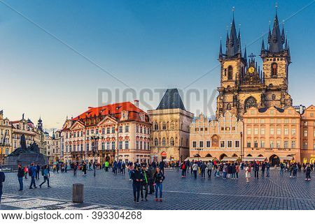 Prague, Czech Republic, May 13, 2019: People Are Walking Down Old Town Square Stare Mesto In Histori