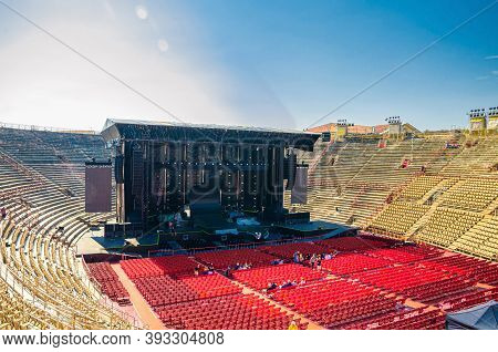 Verona, Italy, September 12, 2019: Verona Arena Interior Inside View With Stone Stands And Stage. Ro