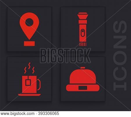 Set Beanie Hat, Location, Flashlight And Cup Of Tea With Tea Bag Icon. Vector