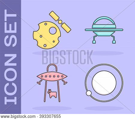 Set Satellites Orbiting The Planet Earth, Satellites Orbiting The Planet Earth, Ufo Abducts Cow And