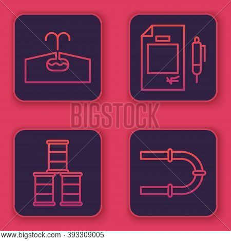Set Line Oilfield, Barrel Oil, Contract Money And Pen And Industry Pipe. Blue Square Button. Vector