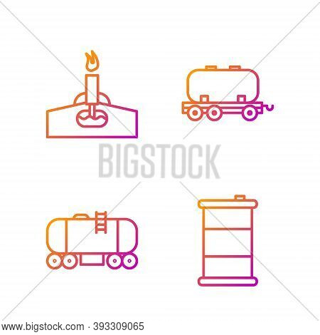 Set Line Barrel Oil, Oil Railway Cistern, Oil Rig With Fire And Oil Railway Cistern. Gradient Color