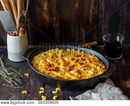 American Dish Mac And Cheese. National Cuisine. Vegetarian Food.