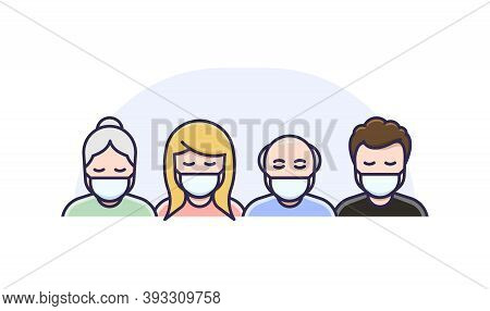 Men And Women In Medical Face Protection Mask. Vector Icon Of Symptomatic Or Asymptomatic People Wea