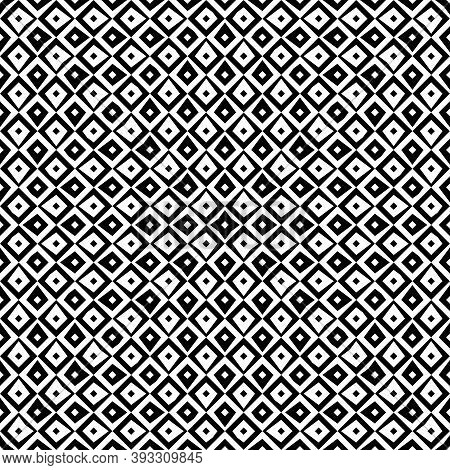 Repeated Black Figures On White Background. Ethnic Wallpaper. Seamless Surface Pattern Design With R